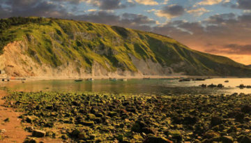 A view of one of the best fossil hunting beaches in Dorset